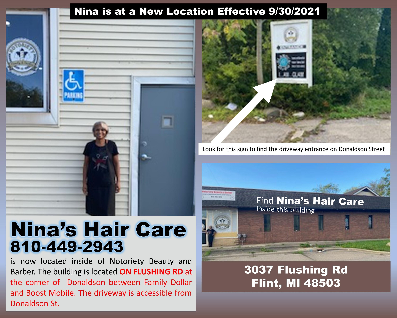 Nina's Hair Care Salon Service Flint Michigan Directions